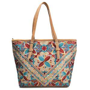Brenice Women National Emossed Floral Tote Handbag Vintage Geometry Shopping Bag