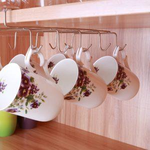 12 krokar rostfritt stål kök förvaring rack skåp hängande krok hylla skålen hängare bröstförvaring