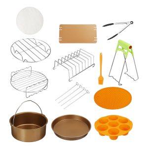12Pcs Set 7''/8'' Non-stick Air Fryer Accessories Gold Set Baking Cooking Barrel