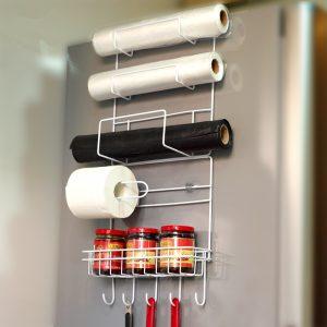 Refrigerator Side Storage Rack Space Saver Kitchen Storage Wrap Rack Organizer Fridge Accessories