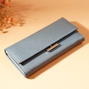 Kvinnor Plain Faux Leather Long Phone Wallet Card Holder Purse