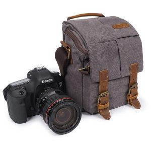 Canvas With Leather Water Resistant Casual Travel Camera Bag Crossbody Bag for Men