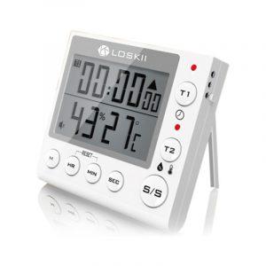 Loskii KC-70 Digital multifunktionell dubbelläge Termometer Hygrometer Alarm Clock Kitchen Timer med LCD-skärm