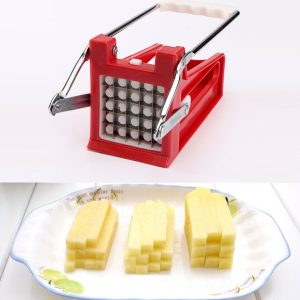 Potato Chipper Slicer Stainless Steel 2 Blades French Fry Maker Chips Cutter Potato Roller Cutter