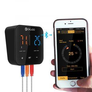 2 STK Digoo DG FT2303 Tre kanaler Smart Bluetooth LED-display BBQ Kök Matlagning termometer med tre rostfritt stål metallprober