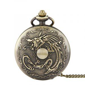 DEFFRUN Retro Bronze Classic Dragon Pattern Pocket Watch
