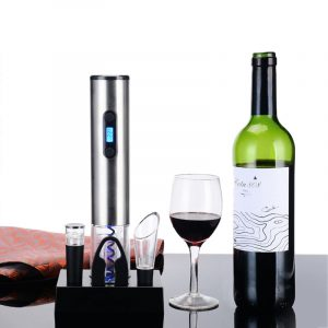 Loskii KC-60 Household Electric Opener Set Stainless Steel Automatic Bottle Opener Kit With Charging Base Red Wine Electric Opener Set 4pcs
