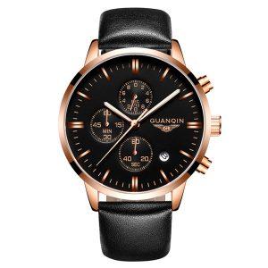 Lyx GUANQIN märke män mode armbandsur vattentät kronograf läder kvarts klocka GQ12006