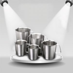 KCASA KC-MCup 18/10 Stainless Steel Measuring Cup Frothing Pitcher with Marking For Milk Froth