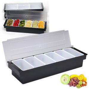 6 Fack delad fruktmat Förvaring Case Box Kök Förvaring Container Garnering Crisper