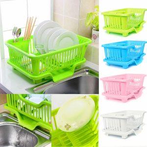 4-färger kök förvaring rack disk / skål / kopp / sked / gaffel torkning torkställ tvätthållare sortering korg
