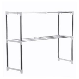 495-850mm Storage Shelf Double-layer Multi-function Telescopic Framework Kitchen Storage Rack