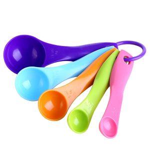5 st färgglada måttskedar set köksredskap grädde matlagning bakverktyg