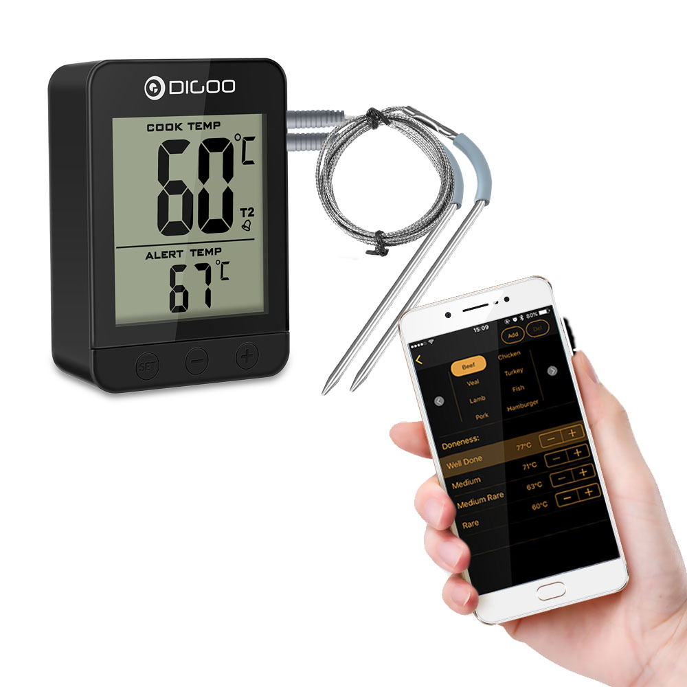 Digoo DG FT2203 Smart Bluetoorh LED & LCD Display BBQ Kitchen Cooking Thermometer With Double Stainless Steel Metal Probes APP Function For Meat