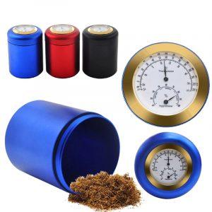 Aluminium Stash Jar Förvaring Lufttätt luktbeständig örter Kryddor Behållare Essential (Med Hygrometer) Kök Förvaring Behållare