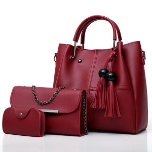 Fashion Handbag Messenger Bag Three-piece Tassel Mother Bag