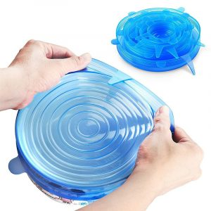 6 STK Återanvändbar matskydd färskt håller tätning sträcklock kök förvaringsbehållare silikonlock