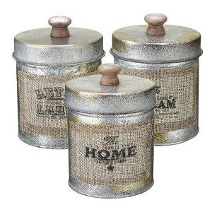 3 st Vintage Shabby Metal Lock Storage Tank Kitchen Candy Nuts Flaskor Hantverkskruk