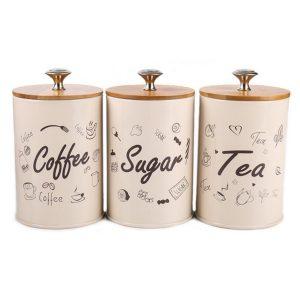 3 ST Retro Te Kaffe Socker Kök Förvaring Behållare Burkar Burkar Krukor Burkar