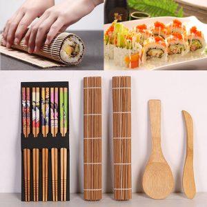 DIY Bamboo Sushi Making Kit 2 Rolling Mats 5 Pairs Chopsticks Rice Spreader Baking Mat