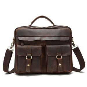 Genuine Leather Sling Briefcase Vintage Handbag Dual Use Messenger Bag For Men