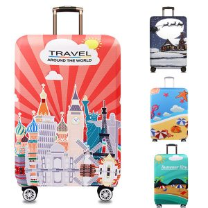 Honana Tourism Theme Elastic Luggage Cover Trolley Case Cover Durable Suitcase Protector for 18-32 Inch Case Warm Travel Accessories