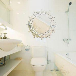 3D cirkel krans silver DIY form spegel vägg klistermärken hem vägg sovrum kontorsdekor