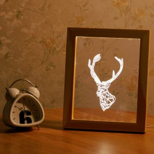 KCASA FL-701 3D Photo Frame Illuminative LED Night Light Wooden Deer Head Desktop Decorative USB Lamp For Bedroom Art Decor Christmas Gifts