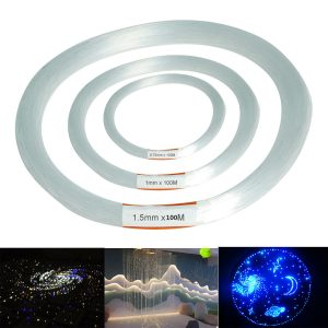 100m PMMA Clear Plastic Fiber Optic Cable End Grow Led Light Decorations 0.75 / 1 / 1.5mm