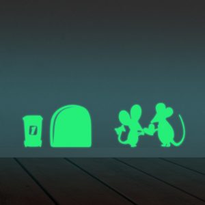 Honana DX-161 22X6CM Fluorescent Glow Mice Share Love Wall Sticker Home Bedroom Decor