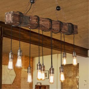 Vintage Wood Industrial Pendant Lamp Hanging Ceiling Light Rustic Chandelier