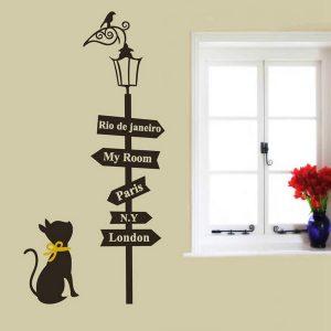 33-tums avtagbar katt Street Light Wall Sticker Sovrum Väggdekor Heminredning