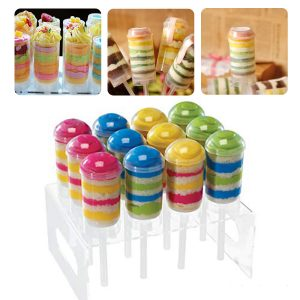 "Clear 7.8"" Acrylic 12 Holes Cup Cake Push Pop Stand Lollipop Cake Display Holder"