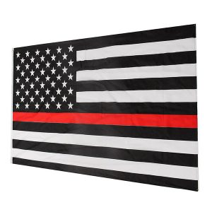 Thin Red Line Stripe American Flag Respect and Honor Banner Law Enforcement Grommets