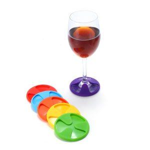 6 st 3 i 1 silikon vinglas charms stengods Coaster cup täcker drycker tillverkare