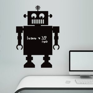 New 70X50CM Blackboard Black Robot Wall Sticker Home Decoration