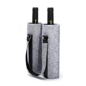 KCASA KC-BC02 Ullfilt Två vatten vinflaskebärväska Champagne Travel Tote Bag Holder Organizer