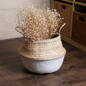Seagrass Belly Storage Baskets Shopping Bag Box Box Organizer Plant Pot Half Green