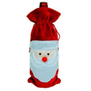 Rödvinflaskans täckväskor Juldekoration för bordsdekorationer Hemfest Decors Santa Claus