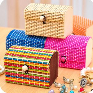 Bamboo Liubian Table Desktop Storage Box Jewelry Earring DIY Desktop Organizer