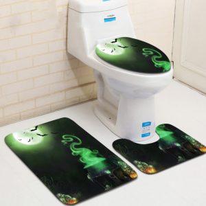 3PCS Halloween Print Bathroom Non-Slip Pedestal U-shape Rug Lid Toilet Seat Covers Bath Mat