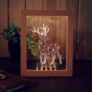 KCASA FL-706 3D Photo Frame Illuminative LED Night Light Wooden Elk Desktop Decorative USB Lamp For Bedroom Art Decor Christmas Gifts