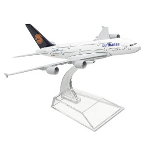 1: 400 Alloy Plane Model Aircraft A380 Lufthansa Airplane Scale Desk Toys 16cm