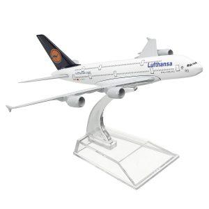 1: 400 Alloy Plane Model Aircraft A380 Lufthansa Airplane Scale Desk Toys 16cm