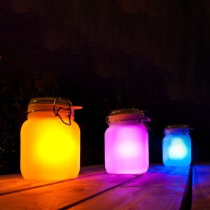 Changeable Colorful Solar Power Glass Sun Jar Wedding Favors Gifts Party Home Decor