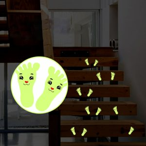 1 Pair Children's Cartoon Cute Little Feet with Fluorescent Smile Luminous Tape Stickers