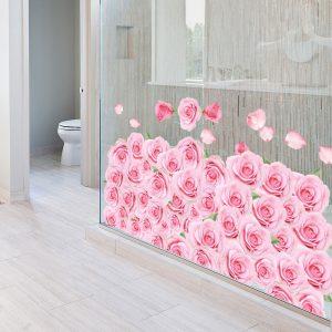 Miico FX82023 3D Rose Decorative Sticker Floor Sticker Bathroom Sticker Wall Sricker DIY Sticker