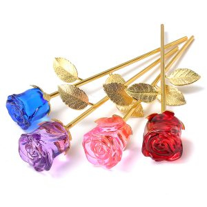 Crystal Glass Golden Roses Flower Ornament Valentine Presents present with Box Home Decorations