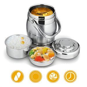 1,6L / 2L tjockare rostfritt stål isolering tunna läckage-bevis Bento lunchlåda