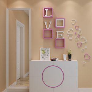 5st 10 färger DIY hjärtaform väggklistermärken dekaler akryl hem väggdörr sovrum dekor